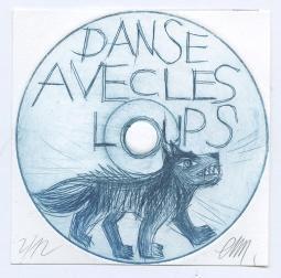 Loup dessiné sur un  dvd et inscription DANSE AVEC  LES LOUPS