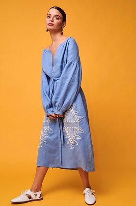 Nema light blue midi dress with embroidery 2083
