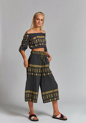 NEMA Demetra crop trousers in grey colour gold embroidered 41000