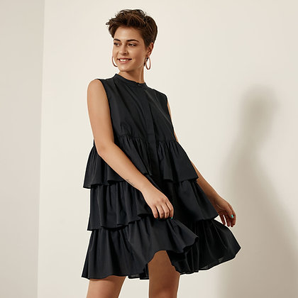 Access black short dress with balloon effect