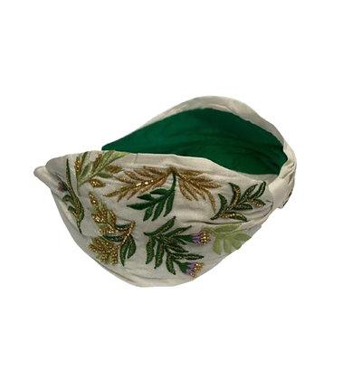 Namjosh ecru handmade headband with leaves