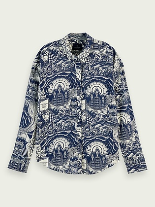 Scotch & Soda oversized cotton-modal blend print shirt 159911