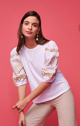NEMA white top with frilled sleeve gold embroidered 0042
