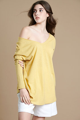 House of Angels yellow oversize V-Neck long sleeve blouse S21703