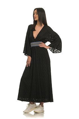 Nisw black long dress with belt LEU04