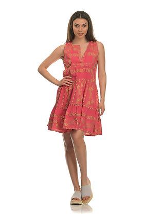 NEMA pink sleeveless dress with embroidery 2001