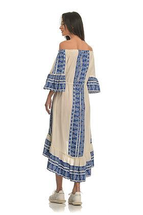 NEMA blue embroidery midi dress N376