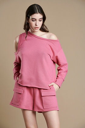 House of Angels pink asymmetric sweatshirt with open shoulder sleeve S21838