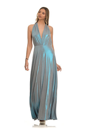 Forever Unique long dress with blue iridescent effect