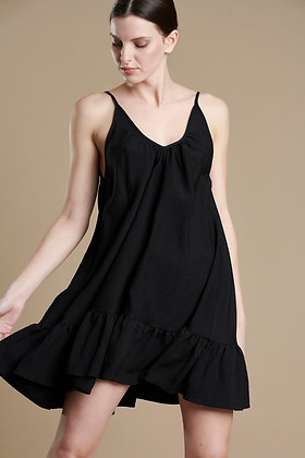 Avant Garde black short loose dress with straps