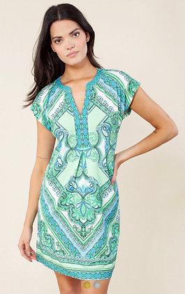 Hale Bob short dress green-blue pattern 6057