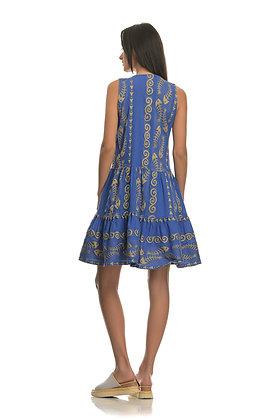 NEMA blue sleeveless dress with embroidery 2001