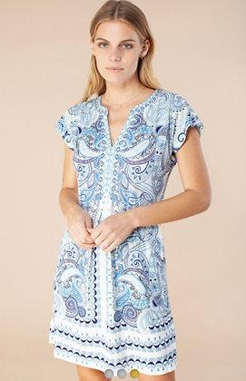 Hale Bob short dress light blue pattern 6015