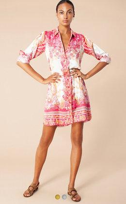Hale Bob short dress coral pink with belt 6004