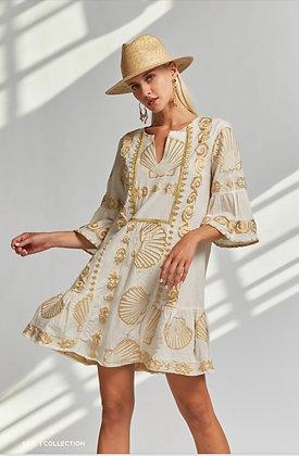 NEMA Arethusa three quarter sleeve dress with embroidery 2021