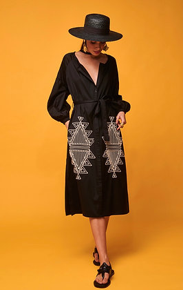 NEMA Charis black midi dress with buttons and white embroidered  2026