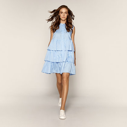 Access short dress with balloon effect in siel colour
