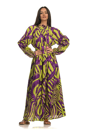 Connor & Blake patterned long dress with long sleeves