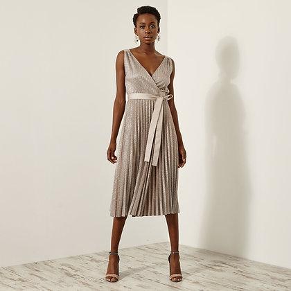 Access pleated bronze midi dress