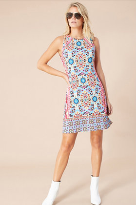 Hale Bob short dress turquoise pattern 6019