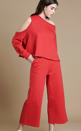 House of Angels red Sweatshirt Asymmetric with open shoulder sleeve S21838