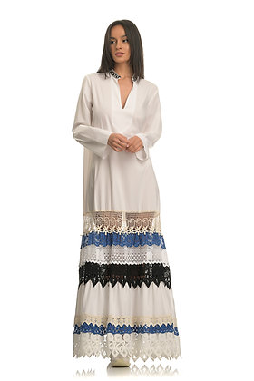 Devotion long sleeve dress with embroidery 020324