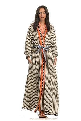 Devotion kimono dress with stripes