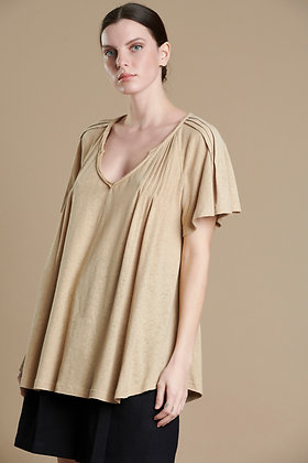 House of Angels beige top with pleated effect sleeve S21707