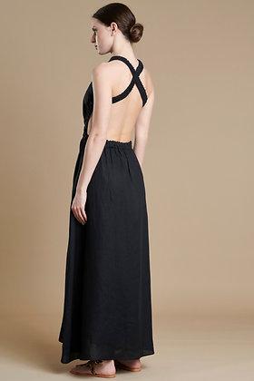 Avant Garde black long dress with open back S21768