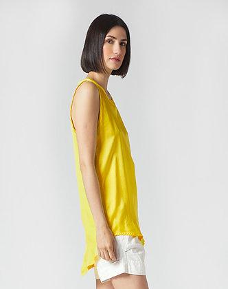 Manilla Grace yellow silk sleeveless top C337