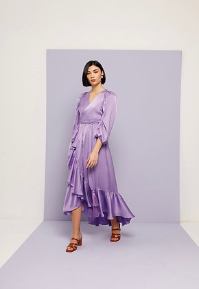 NEMA purple long dress with frills  2058
