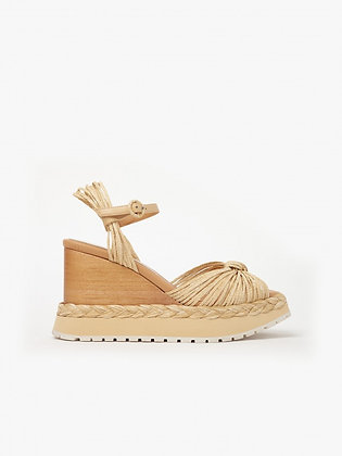Paloma Barcelo Arinos raffia natural leather platforms