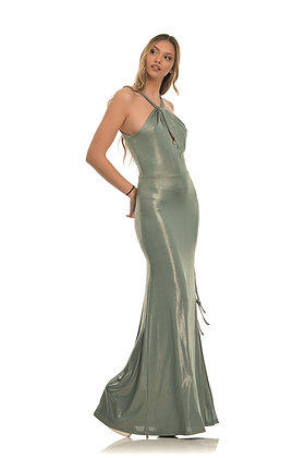 MI-RO long dress in mint colour and iridescent effect