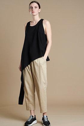 Avant Garde asymmetric  Black Top with part shoulders S21729