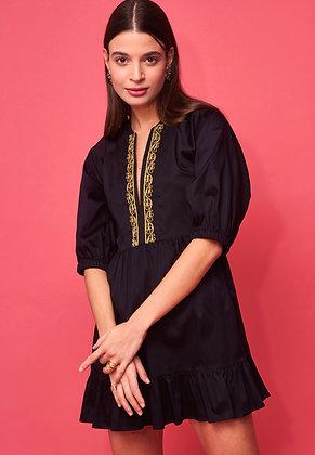 NEMA Areti black short dress with gold embroidery 2061