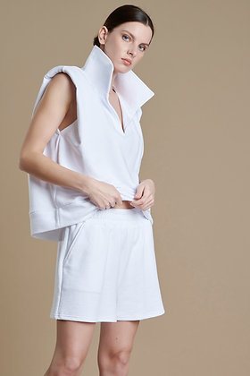 House of Angels white sleeveless sweatshirt with shoulder pads S21750
