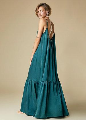 Alessia Santi  emerald silk long dress with straps SD15048