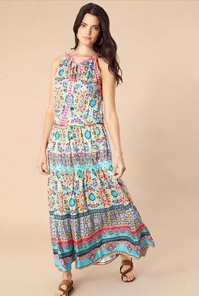 Hale Bob long dress turquoise pattern 6021