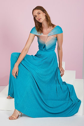 Nenette Milano electric blue-pink long dress Thaygo