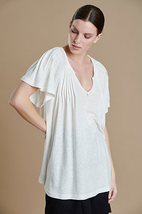 House of Angels white top with pleated effect sleeve S21707