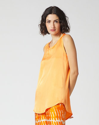 Manilla Grace orange silk sleeveless top C337