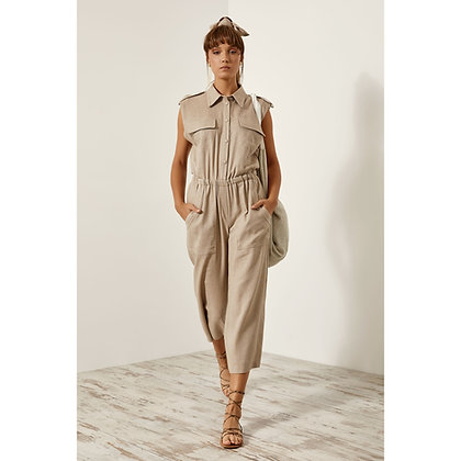 Access cropped jumpsuit in beige colour 5520569