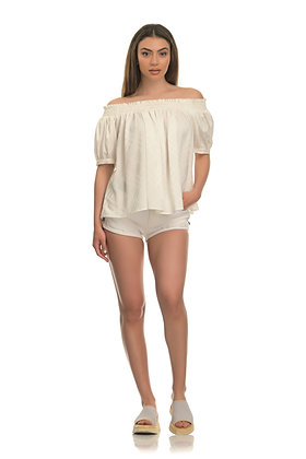 Avant Garde off shoulder blouse in off white blouse