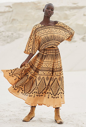 Mes Demoiselles ocre Amerindian inspiration dress AMITOLA