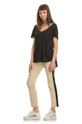 Mid waist beige trousers with glitter stripe
