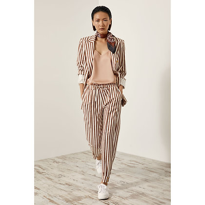 Access trousers with tobacco stripes