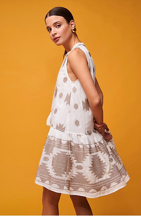 NEMA Panorea dress, white short dress with silver embroidered details 72040