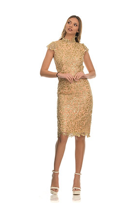 Forever Unique gold midi dress