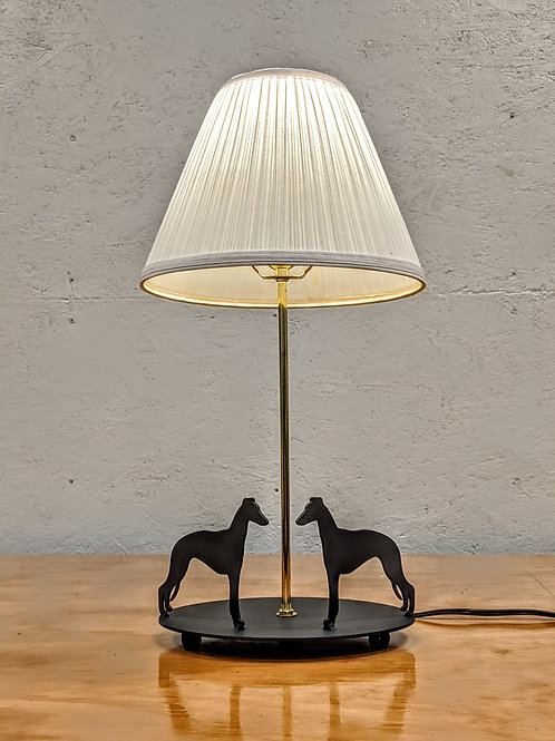 Whippet Dual Dog Lamp w/Oval Base