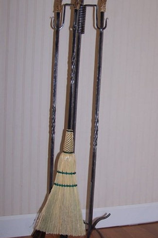 Custom Forged Fire Poker Set with Deer Tynes, Pineapple Twists, & Wrapped Broom